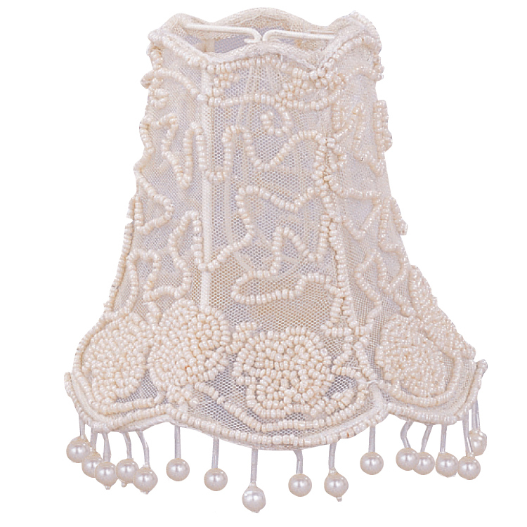 "Crystorama 5"" Pearl Beaded Shade w/ Dangling Pearls"