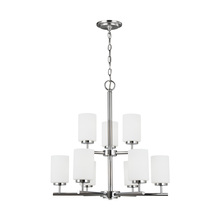 Sea Gull 31162BLE-05 - Fluorescent Nine Light Chandelier in Chrome Finish with Cased Opal Etched Glass