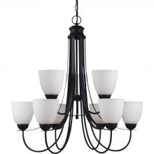 Sea Gull 31272BLE-839 - Fluorescent Uptown Nine Light Chandelier in Blacksmith with Satin Etched Glass