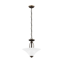 Sea Gull 7713202BLE-715 - Fluorescent Metcalf Two Light Semi-Flush Convertible Pendant in Autumn Bronze with Satin Etched Glas