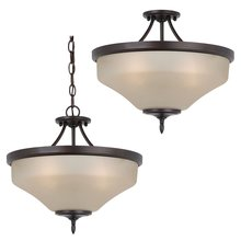 Sea Gull 77180-710 - Three Light Ceiling Semi-Flush Convertible Pendant