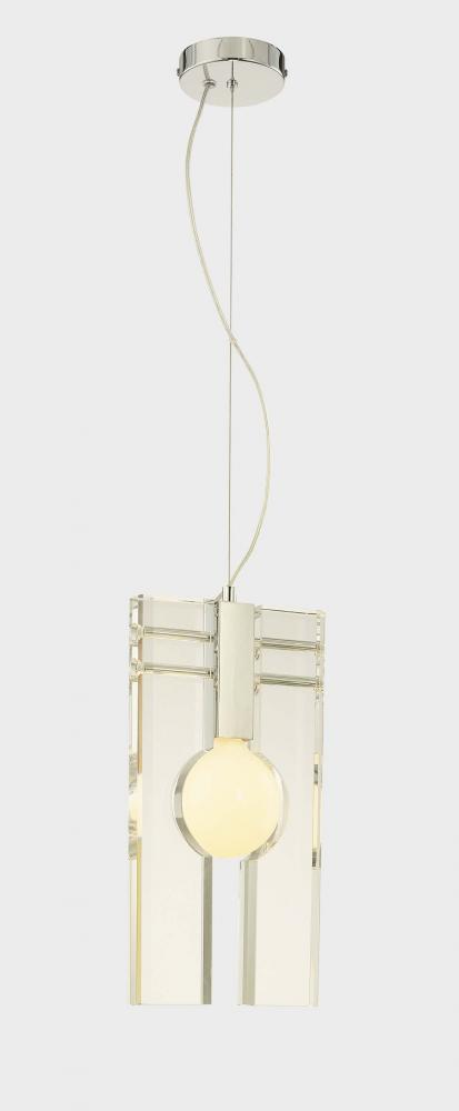 One Light Chrome Clear Glass Down Pendant
